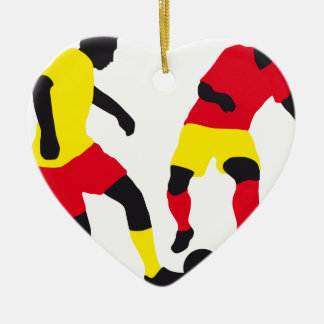 more soccer players Double-Sided heart ceramic christmas ornament