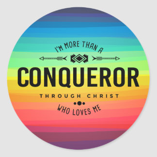 """More Than A Conqueror"" Sticker"