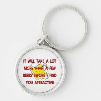 MORE THAN A FEW BEERS Silver-Colored ROUND KEYCHAIN