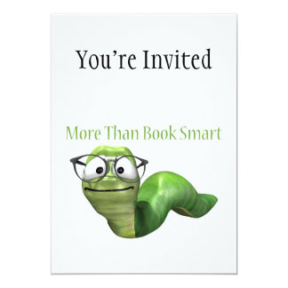 More Than Book Smart Book Worm 5x7 Paper Invitation Card
