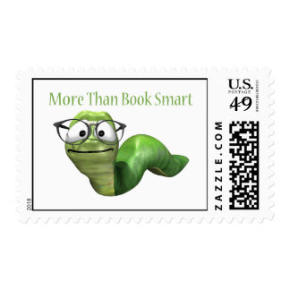 More Than Book Smart Book Worm Postage