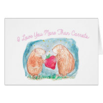 More than Carrots Guinea Pigs In Love Painting Card