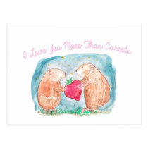 More than Carrots Guinea Pigs In Love Painting Postcard