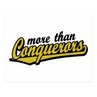 More than conquerors script logo postcard