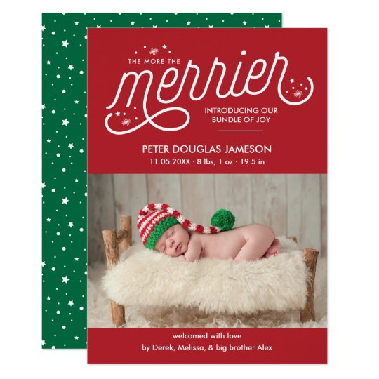 More The Merrier Christmas Birth Announcement Zazzlecom - Christmas birth announcement