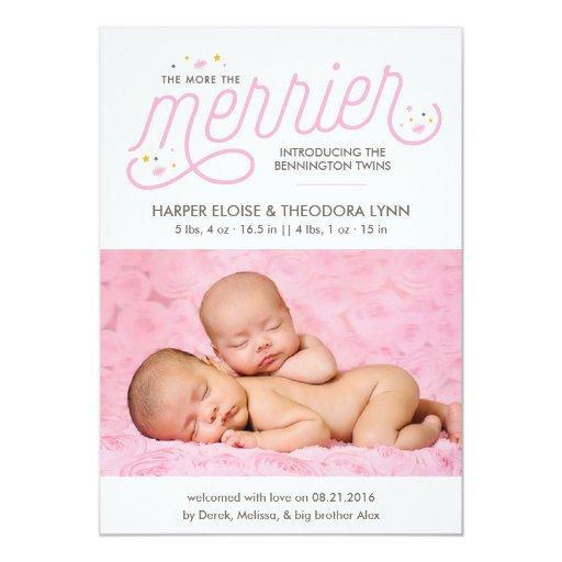 More the Merrier Girl Twins Birth Announcements