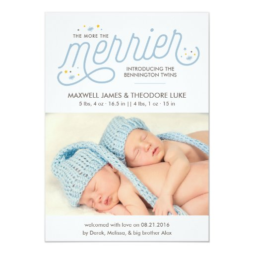 More the Merrier Twins Birth Announcement Photo