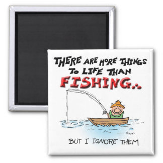 More Things Than Fishing 2 Inch Square Magnet