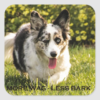 More Wag - Less Bark Square Sticker