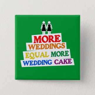 MORE WEDDINGS EQUAL MORE WEDDING CAKE LESBIAN BUTTON