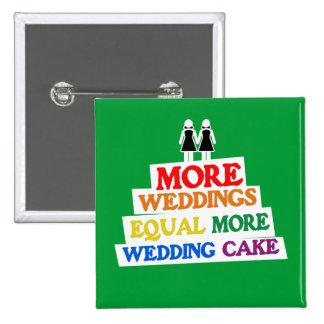 MORE WEDDINGS EQUAL MORE WEDDING CAKE LESBIAN BUTTON