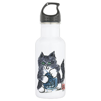 More Yarn Play by Gray Tiger Kitten, Sumi-e Stainless Steel Water Bottle