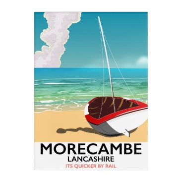 Beach Themed Morecambe, Lancashire Seaside travel poster Acrylic Wall Art