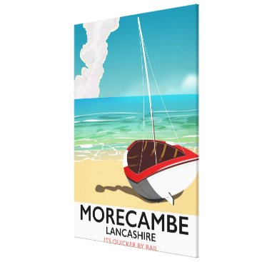 Beach Themed Morecambe, Lancashire Seaside travel poster Canvas Print