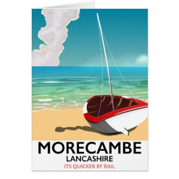 Beach Themed Morecambe, Lancashire Seaside travel poster Card