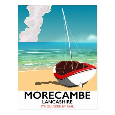 Beach Themed Morecambe, Lancashire Seaside travel poster Postcard