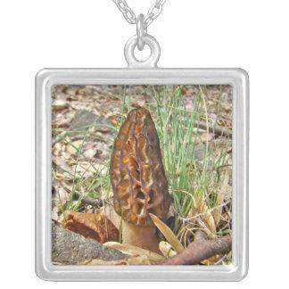 Morel Mushroom Silver Plated Necklace