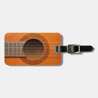 Moreno anaranjado de la guitarra clásica etiquetas para equipaje