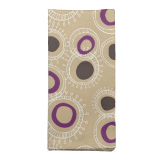 Moreno, Brown y círculos Doodled púrpura Servilleta Imprimida