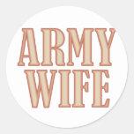 Moreno de la esposa del ejército pegatina redonda