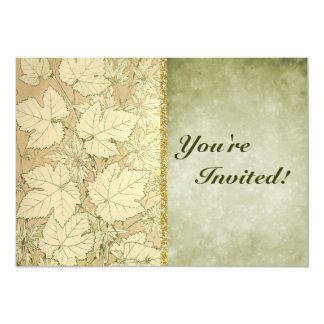 Moreno de las hojas de otoño y papel envejecido invitación 12,7 x 17,8 cm