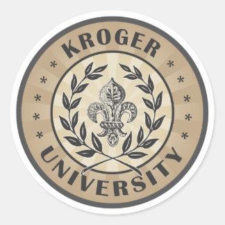 Moreno del vintage de la universidad de Kroger Pegatina Redonda