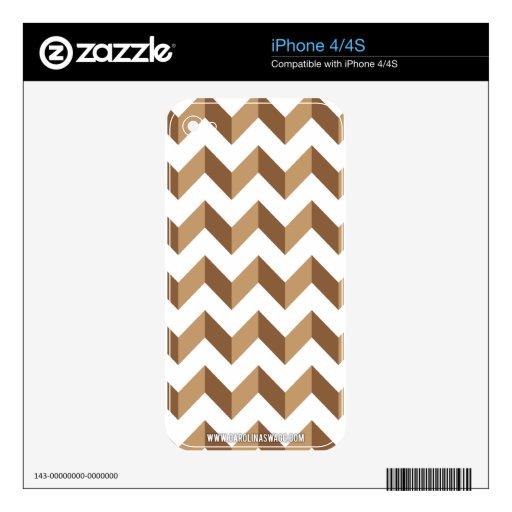 Moreno del zigzag de Chevron iPhone 4S Calcomanía