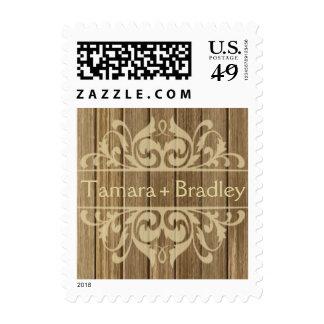 Moreno el | marrón afiligranado de madera rústico franqueo