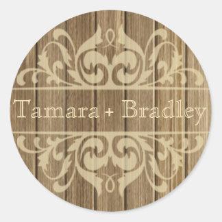 Moreno marrón afiligranado de madera rústico del d pegatinas
