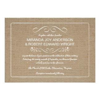 Moreno natural de la arpillera de las invitaciones invitación