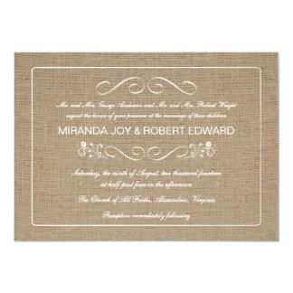 Moreno natural de la invitación rústica del boda