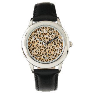Moreno, negro y modelo del estampado leopardo de relojes de pulsera