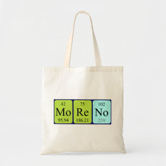 Moreno periodic table name tote bag