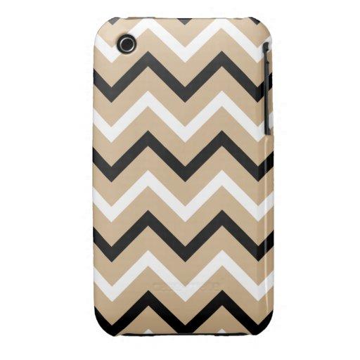 Moreno, rayas blancos y negros de Chevron (zigzags Case-Mate iPhone 3 Funda
