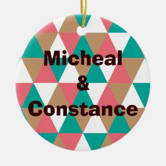 Moreno retro geométrico del rosa del trullo del mo ornaments para arbol de navidad
