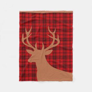 Moreno rojo de la tela escocesa el | de la silueta manta de forro polar
