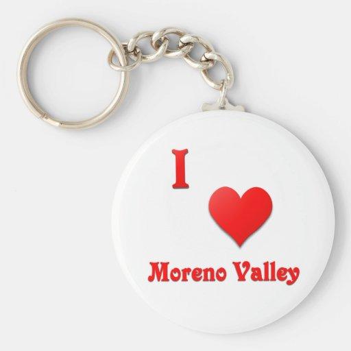 Moreno Valley -- Red Basic Round Button Keychain