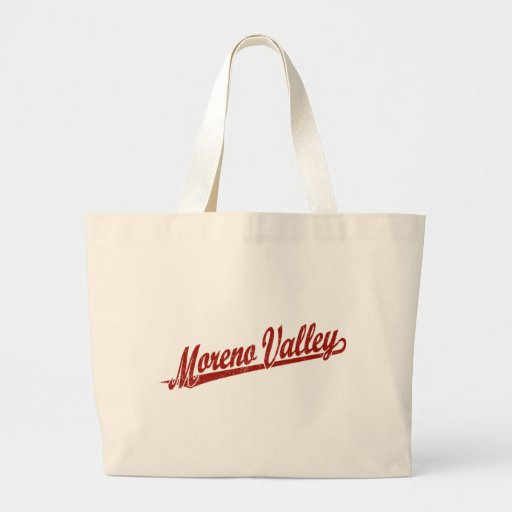 Moreno Valley script logo in red distressed Bags