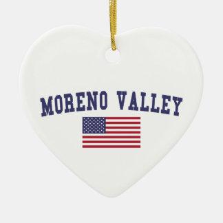 Moreno Valley US Flag Ceramic Ornament