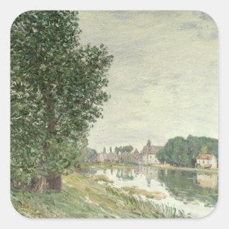 Moret-sur-Loing, 1892 (aceite en lona) Pegatina Cuadrada