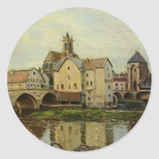 Moret sur Loing, Morning by Alfred Sisley Classic Round Sticker