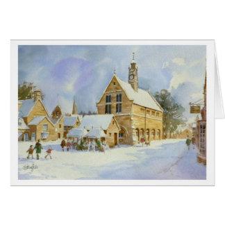 Moreton in Marsh in snow Greeting Card