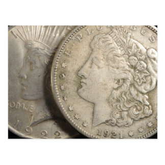 Morgan and Liberty Silver Dollars Postcard