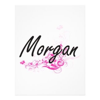 """Morgan Artistic Name Design with Flowers 8.5"""" X 11"""" Flyer"""