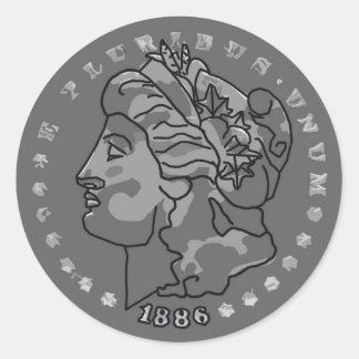 Morgan dollar art round stickers