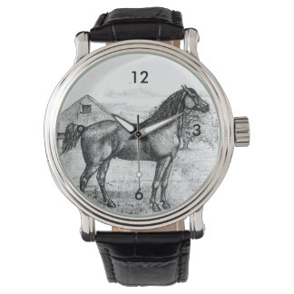 Morgan Horse Breed 1888 Vintage Drawing Art Wristwatch