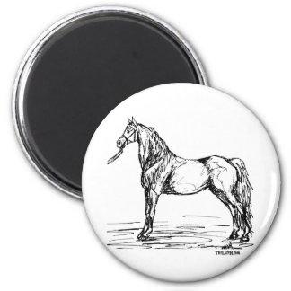 Morgan Horse Simple Sketch 2 Inch Round Magnet