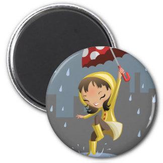 Morgan in the Rain 2 Inch Round Magnet