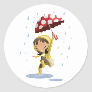 Morgan in the Rain Classic Round Sticker