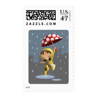 Morgan in the Rain Stamp